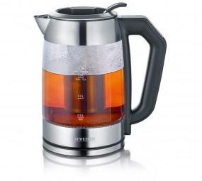 Severin Digital Glas Tee- und Wasserkocher WK 3477 (edelstahl/schwarz, 1,7 L)