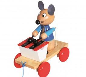 Ziehfigur Maus mit Xylophon, Nachziehspielzeug