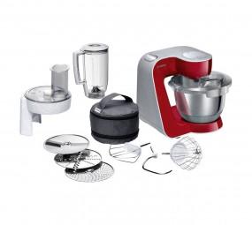 Bosch MUM58720 silber/rot, Küchenmaschine mit viel Zubehör (1000 W)